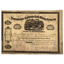 CA - 1867 - Pennsylvania and California Stock Certificate