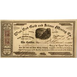 CA - Amador County,West End Gold and Silver Mining Co. Stock Certificate