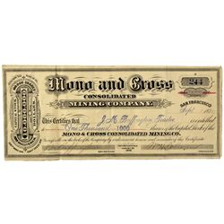CA - Bodie,Mono County - 1879 - Mono and Cross Stock Certificate
