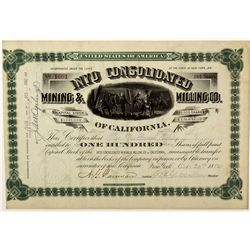 CA - Inyo,San Bernardino County - 1882 - Inyo Consolidated Mining & Milling Co. Stock Certificate