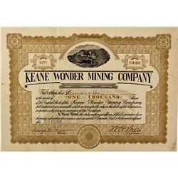 CA - Inyo County,1914 - Keane Wonder Mining Company Stock Certificate