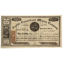 CA - Nevada County,1863 - Eureka Consolidated Stock Certificate
