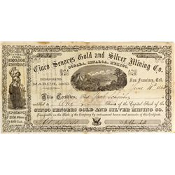CA - San Francisco,1863 - William Keith illustrated stock certificate, 1863