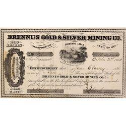 NV - Comstock,Lyon County - October 23, 1863 - Brennus Gold & Silver Mining Co., Stock *Territorial*