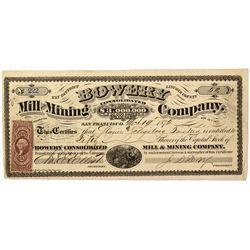 NV - Ely District,Lincoln County - 1872 - Bowery Mill and Mining Co. Stock