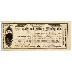 NV - Gold Hill,Storey County - 1863 - Ball Stock Certificate