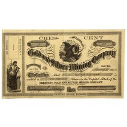 NV - Gold Hill,Storey County - 1864 - Crescent Stock Certificate