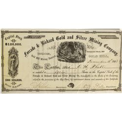 NV - Gold Hill,Storey County - 1863 - Forcade & Rickard Stock Certificate