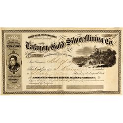 NV - Gold Hill,Storey County - 1864 - Lafayette Stock Certificate