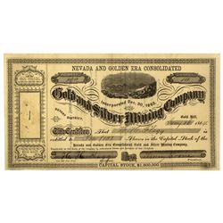 NV - Gold Hill,Storey County - 1864 - Nevada and Golden Era Stock Certificate