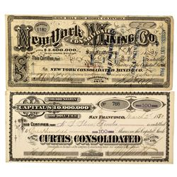 NV - Gold Hill,Storey County - 1873, 1880 - New York, & Curtis Consolidated Stock Certificates