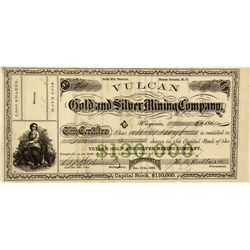 NV - Gold Hill,Storey County - 1864 - Vulcan Stock Certificate