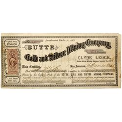NV - Lander County,1863 - Butte Gold and Silver Mining Company Stock Certificate *Territorial*