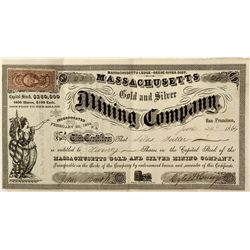 NV - Lander County,1864 - Massachusetts Gold and Silver Mining Company Stock Certificate *Territoria