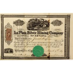NV - Park Canyon,Nye County - 1867 - La Plata Silver Mining Company of Nevada Stock Certificate