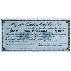 NV - Rhyolite,Nye County - 1907 - Rhyolite Clearing House Certificate $10 Scrip