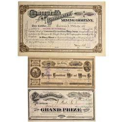 NV - Tuscarora,Elko County - 1891 - Tuscarora Area Mining Stock Certificates