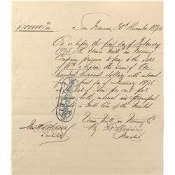 CA - San Francisco,1874 - Union Mill & Mining Promissory Note
