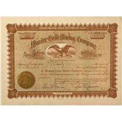 UT - Mercur,Tooele County - 14 February 1896 - Wonder Gold Mining Company Stock Certificate