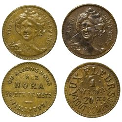France,c1890-1910 - Arts D'Agrement French Brothel Tokens