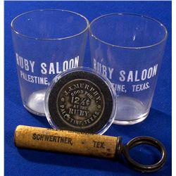 TX - c1920 - Texas Saloon Items