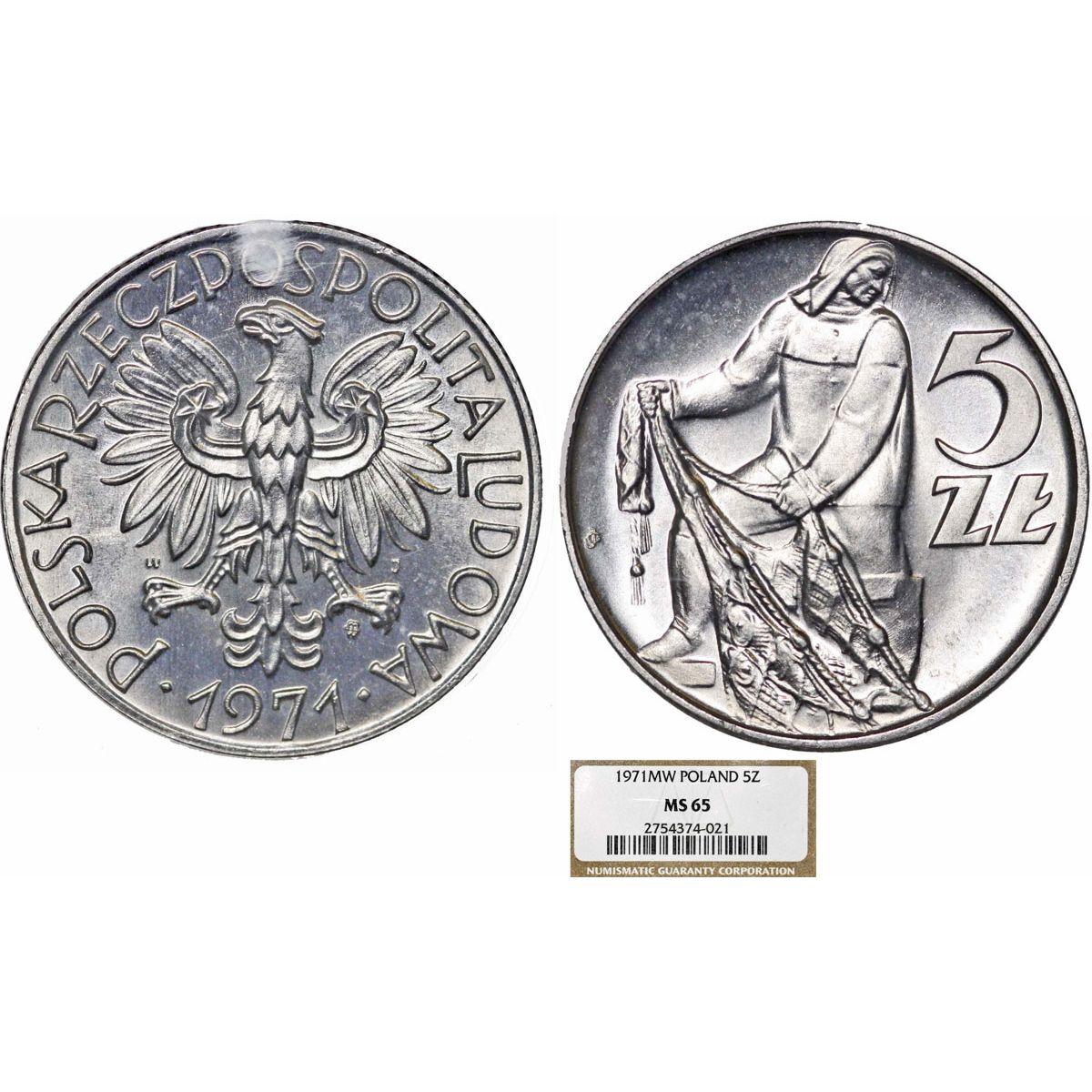Poland  PRL (1945-1989) Aluminium 5 Zloty 1971 MW