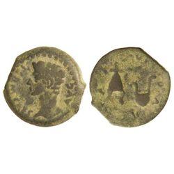 Cuadrante. ÉPOCA DE AUGUSTO. IULIA TRADUCTA. Anv.: Cabeza de Augusto a izquierda, alrededor PERM. CA