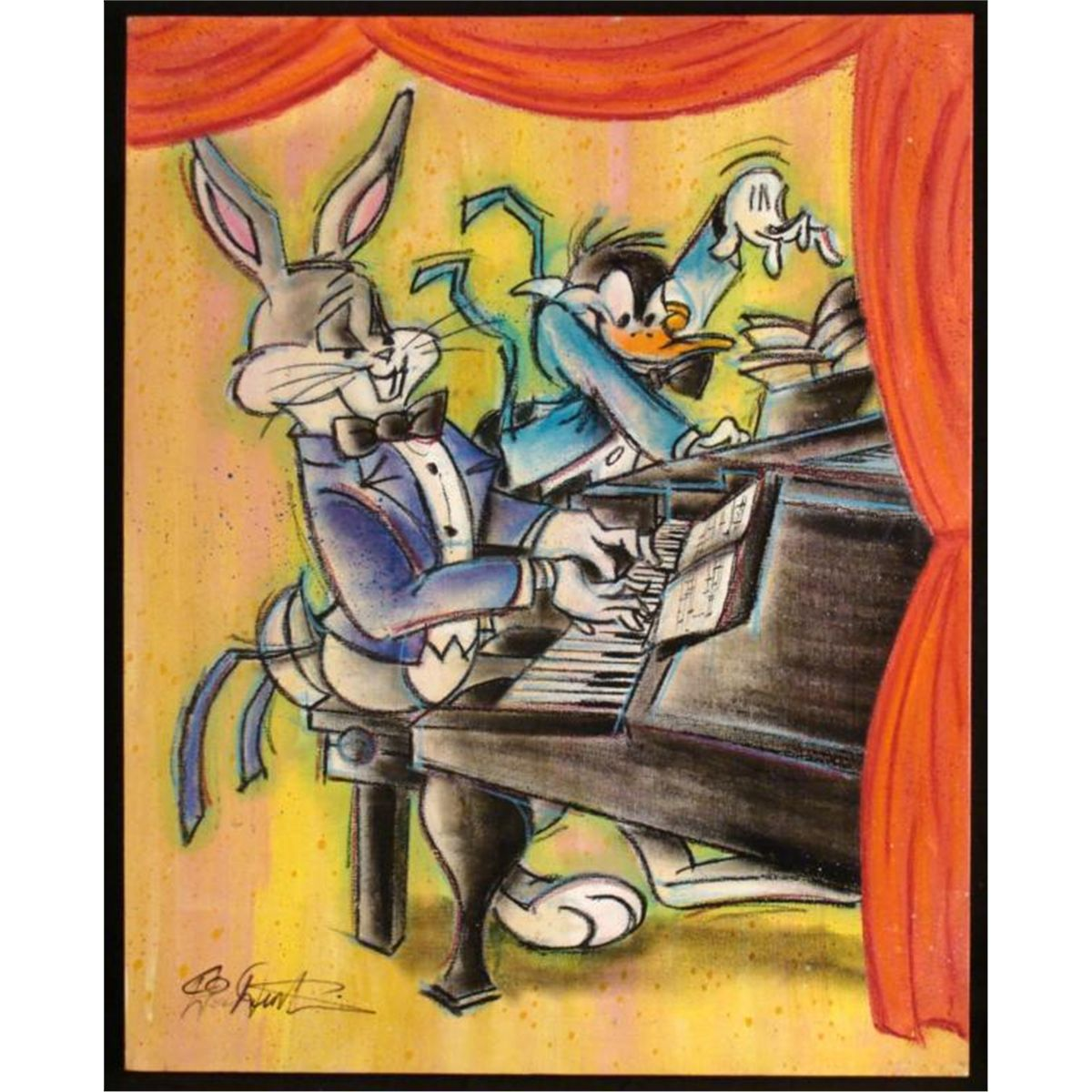 Duerrstein Bugs Bunny Daffy Duck Piano Orig Painting