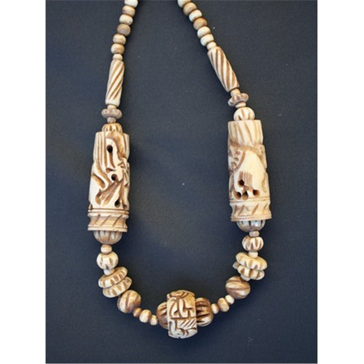 Mwf1539 Tibetan Intricately Carved Yak Bone Beaded Necklace Length Approx 26