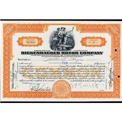 Rickenbacker Motor Company Stock Certificate.