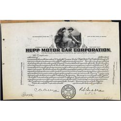 Hupp Motor Car Corp. Proof Stock Certificate.