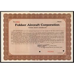 Fokker Aircraft Corp. - Voting Trust Certificate Specimen.