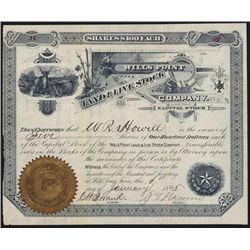 Wills Point Land & Live Stock Co., Texas, Stock Certificate.