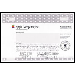 Apple Computer Inc. Specimen Stock With Sculley Facsimile Signature..