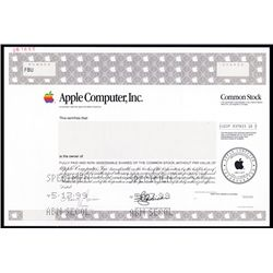 Apple Computer Inc. Specimen Stock With Anderson Facsimile Signature..