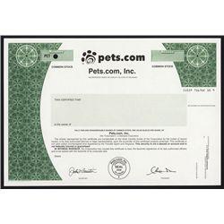 Pets.com, Inc. Specimen Stock.
