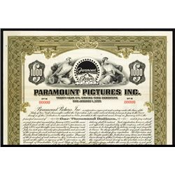 Paramount Pictures, Inc. Specimen Bond.