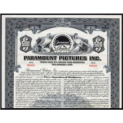 Paramount Pictures, Inc. $500 Specimen Bond.
