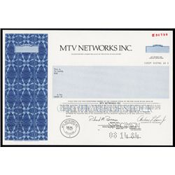 MTV Networks Inc. Specimen Stock Certificate.