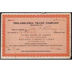 Philadelphia Trust Co., U.S.A. 10-25 Year 4% Gold Bonds Second Liberty Loan Payment Certificate.