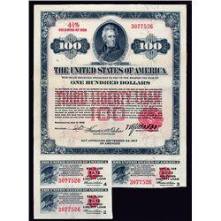 U.S. Third Liberty Loan, $100 1918 Bond.