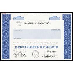 Berkshire Hathaway Inc. Temporary Class B Common Stock Specimen.
