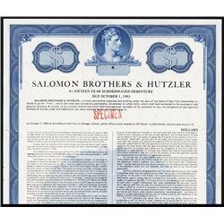 Salomon Brothers & Hutzler Specimen Bond.
