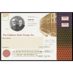 Goldman Sachs Group Specimen Stock Certificate.