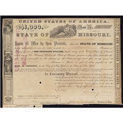 State of Missouri Bond Signed by Sterling Price, Confederate General
