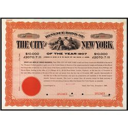 Revenue Bond of the City of New York of the Year 1907.