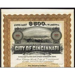 City of Cincinnati Specimen Bond.