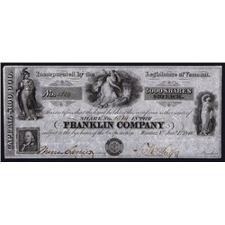 Franklin Company Obsolete Banknote Look-alike Stock Certificate.
