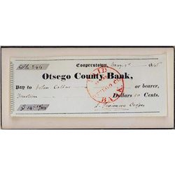 James Fenimore Cooper Autograph on Otsego County Bank Check.