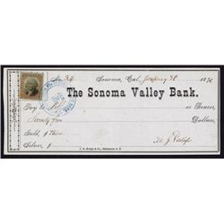Mariano G. Vallejo Autograph on Sonoma Valley Bank Check.